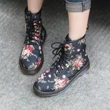 新款西部牛仔风欧美帅气复古小碎花平跟短靴高帮马丁靴子厂家批发