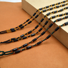 Diy high-grade hand-woven men and women hanging rope emerald jade necklace rope (imitation black agate bucket bead)