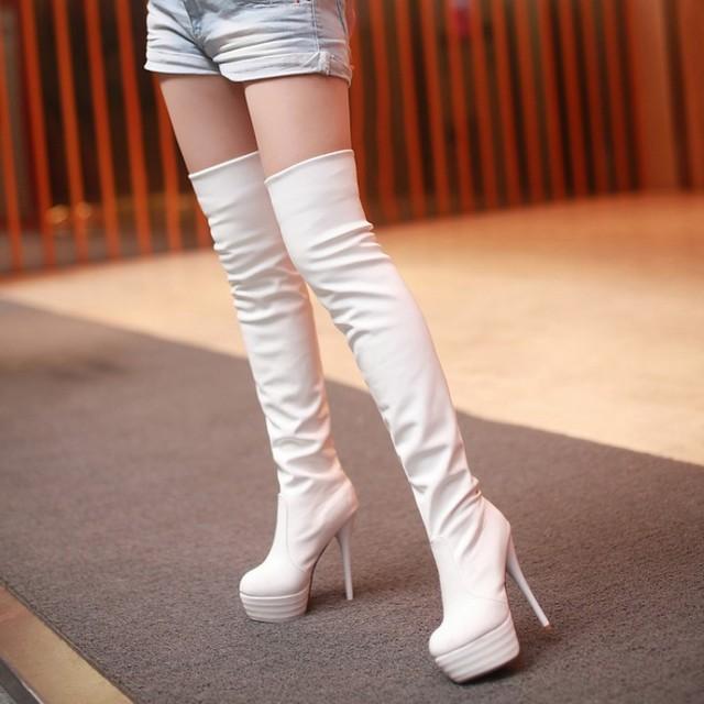 2018高筒女靴修腿过膝长靴 性感高跟靴骑士靴钢管舞靴靴TM128