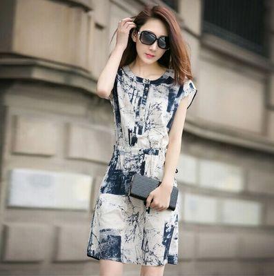 夏季新款女装复古文艺范水墨印花显瘦民族风棉麻连衣裙长裙子