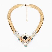 小額混批 青島歐美時尚大牌項飾品批發 個性蛇骨鏈樹葉水晶女項鏈