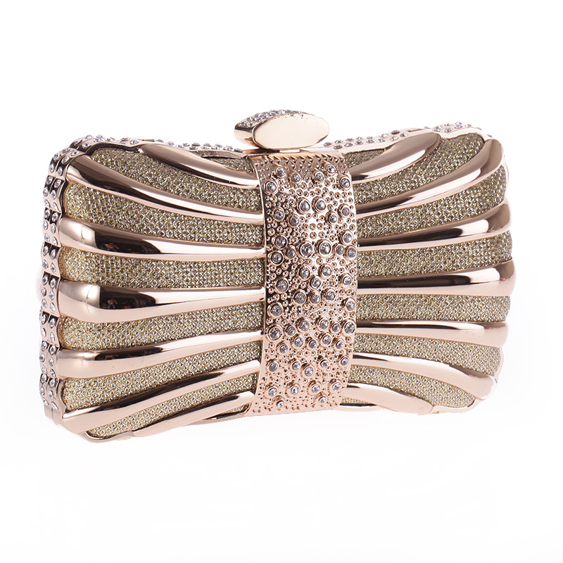 Alloy drill evening party bag small square chain handbag NHYG174741