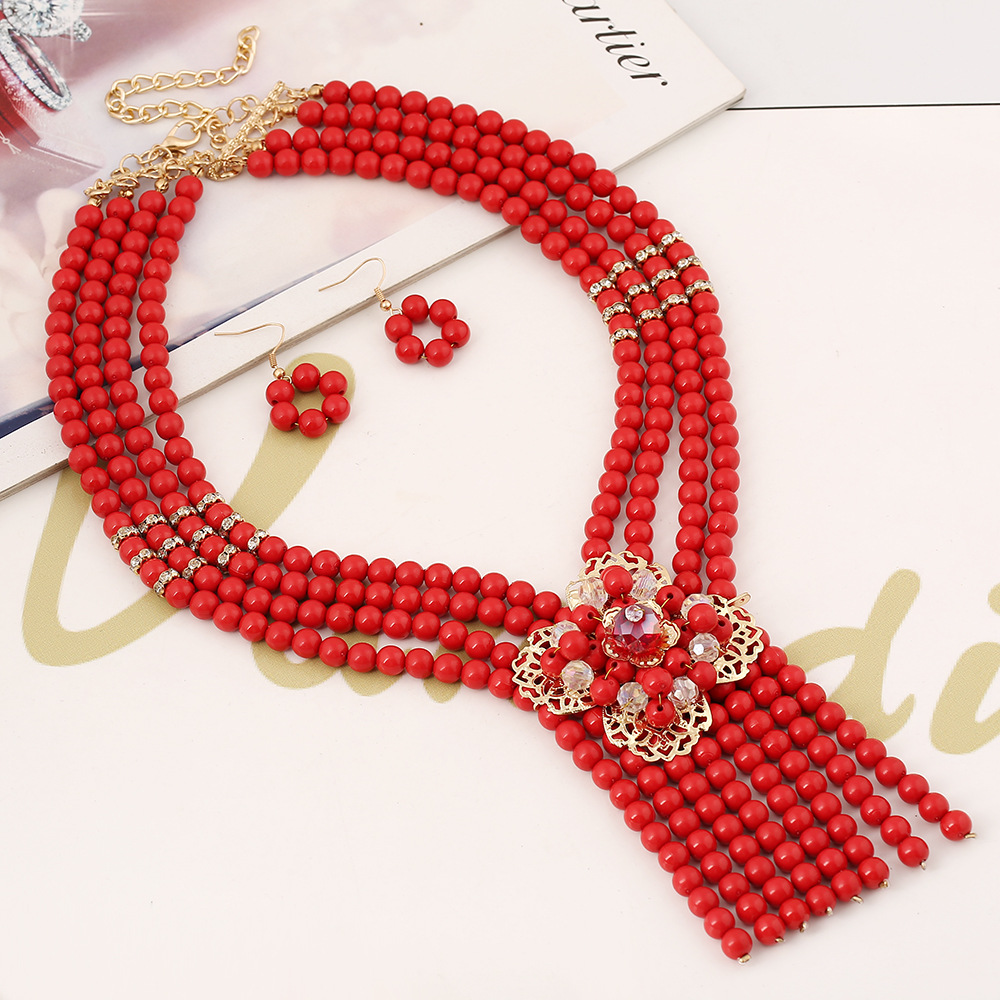 Fashion beads flowers want to come to your earrings jewelry set NHVA143495