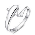 镀银戒子 浪漫海豚之湾恋人开口银戒指 时尚指环 韩版  饰品批发