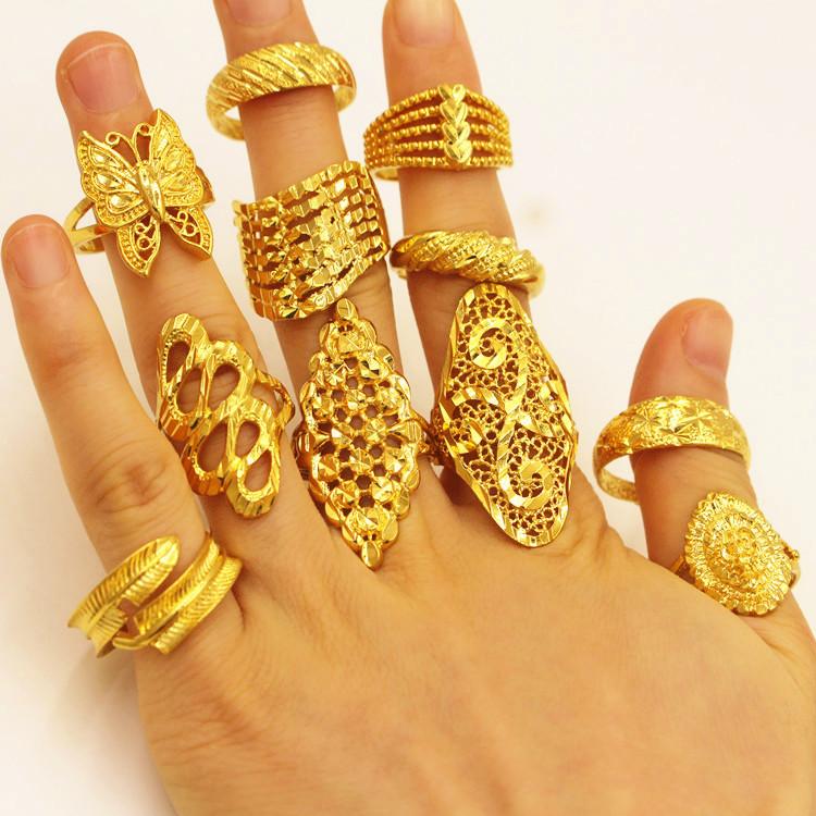 欧币越南沙金满天星花朵蝴蝶戒指饰品韩版开口可调节食指女首饰
