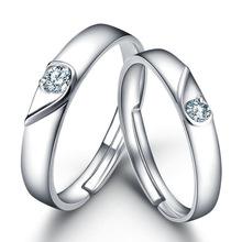 厂家批发 白铜镀银白金男女对戒锆石心心相印活口情侣戒指