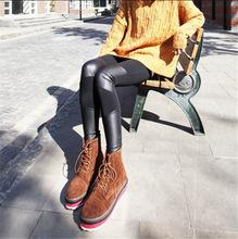 秋冬季韩国女装个性膝盖四皮拼接九分裤加绒加厚牛奶丝打底裤