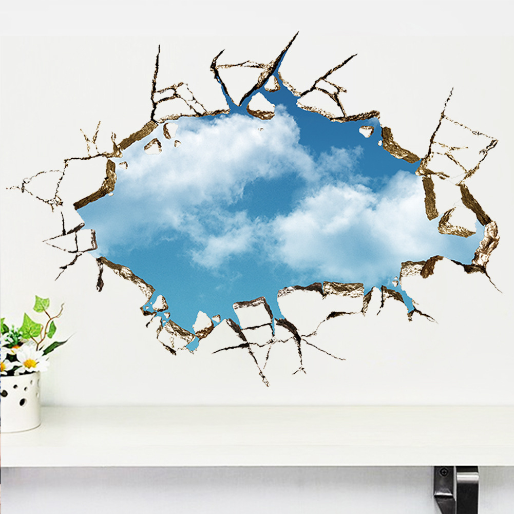 Vivid creative 3d window hole landscape blue sky white for Stickers 3d pared