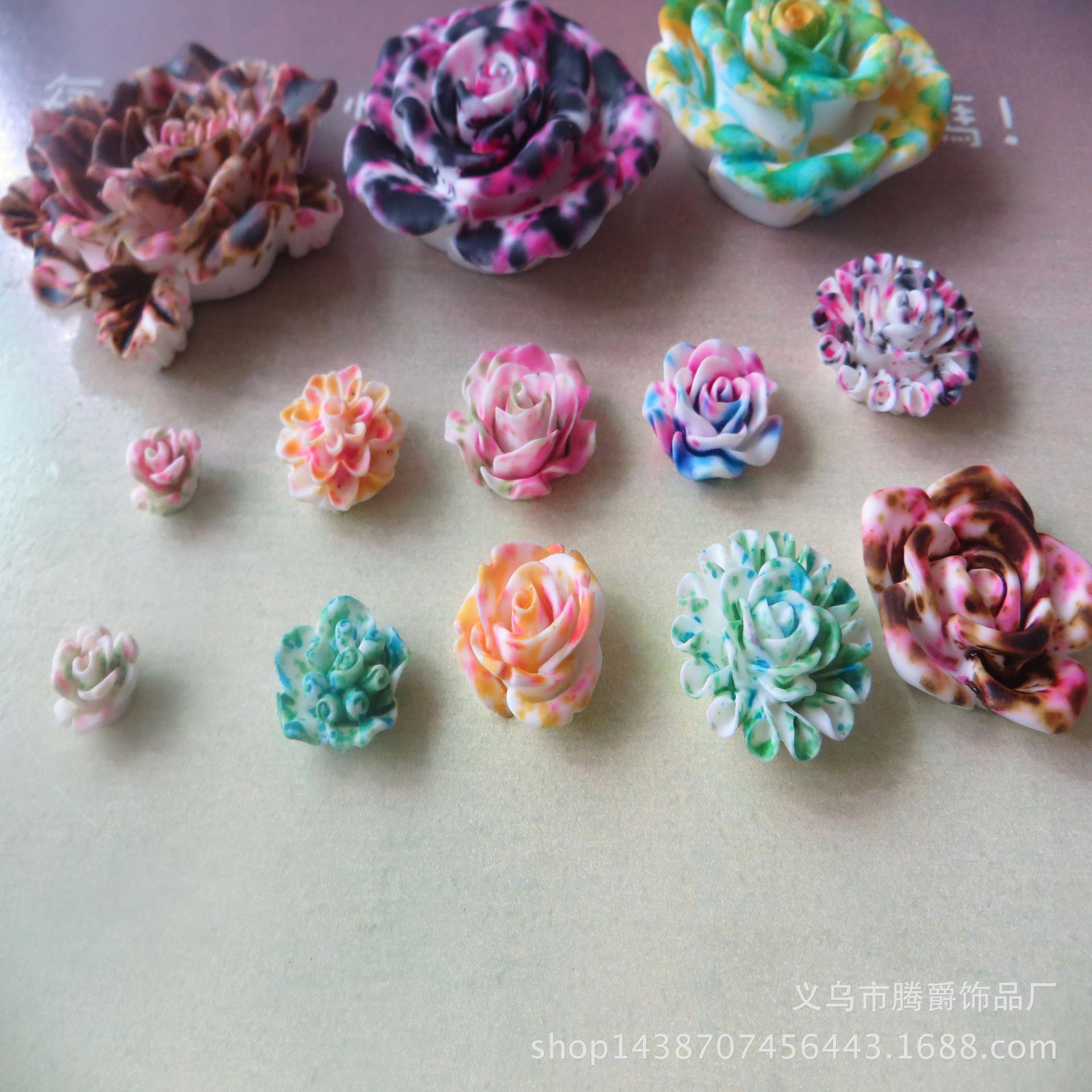厂家直销 diy精美树脂配件 树脂花 多款式玫瑰花批发 可来样定做