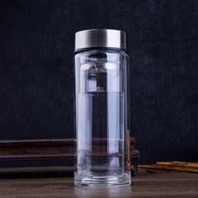 創意雙層高檔玻璃杯透明帶蓋過濾水晶泡茶杯批發可印logo