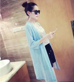 Sun Protection Clothing FEMALE Summer Long Beach-Protective Clothing Simple Wild Section Cardigan Solid Color Loose fang shai shan