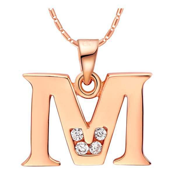 外贸项链 925纯银订 镀18K白金 26个字母吊坠-M 现货 华饰丽雅
