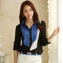 秋装新款2018 大码拼色雪纺衬衫女长袖 韩版学生修身职业衬衣女装