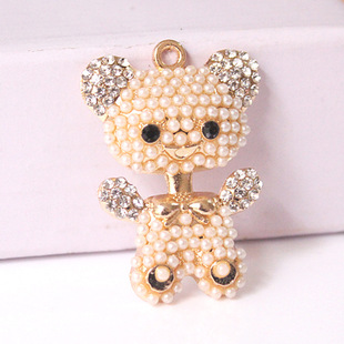 Factory direct sale pearl bear sticker diamond mobile phone beauty diy material alloy jewelry accessories protective cover wholesale
