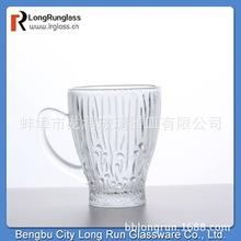 2019蚌埠廠家直銷 耐熱玻璃咖啡杯 透明帶把手創意刻花杯152ml