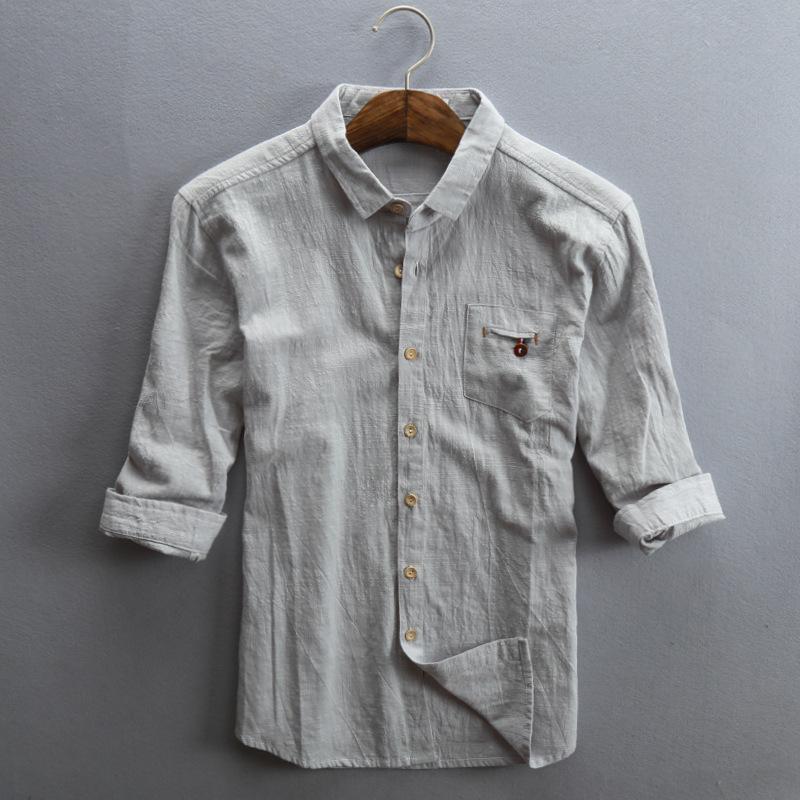 2020春夏季新款男士休闲亚麻衬衫七分袖宽松翻领男款棉麻衬衣瑶夜