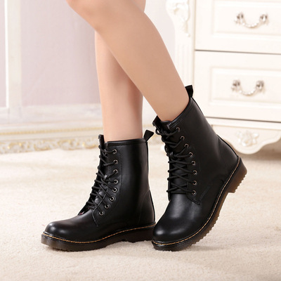 leather Europe and the locomotive Martin boots British style Martin boots round head for women's fashion boots's main photo