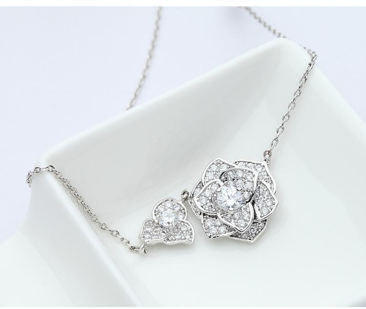 Alloy Korea Flowers necklace  (platinum) NHTM0352-platinum
