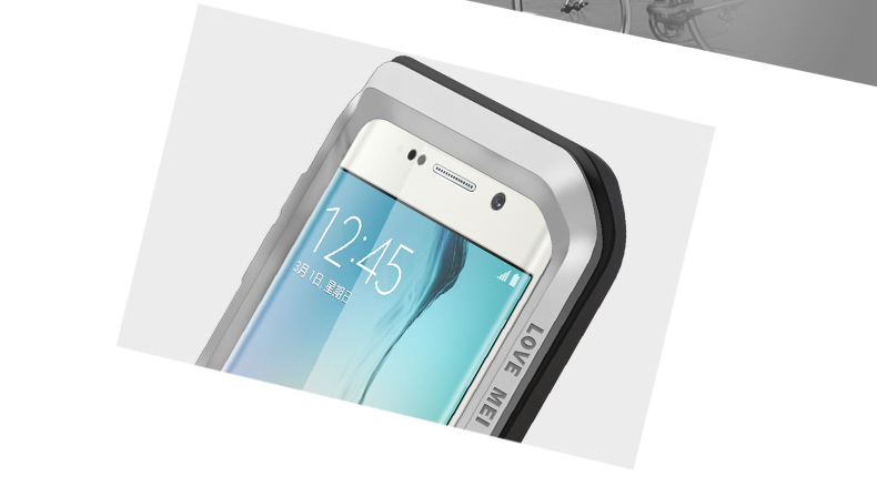 LOVE MEI Powerful Water Resistant Shockproof Dust/Dirt/Snow Proof Aluminum Metal Outdoor Heavy Duty Case Cover for Samsung Galaxy S6 Edge