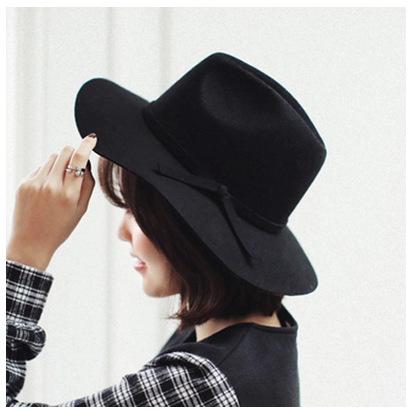 羊毛帽子女 春夏季韩版毛呢大檐爵士帽 黑色礼帽 大沿时装帽毡帽