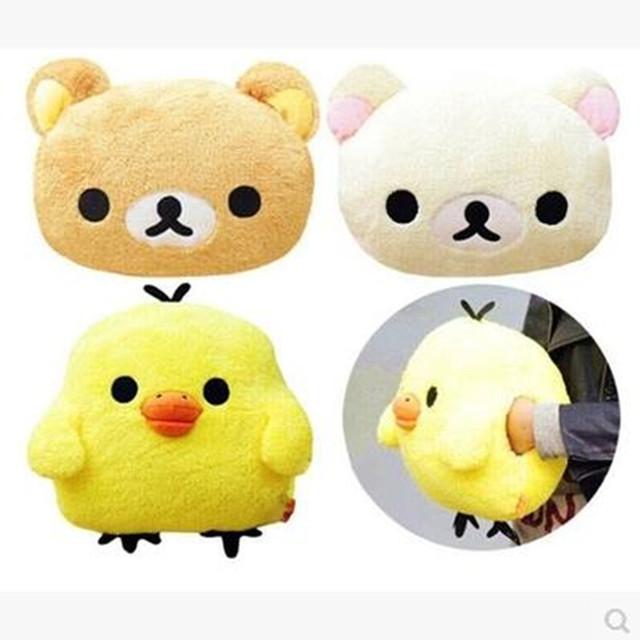卡通可爱小熊暖手 懒懒熊抱枕毛绒玩具鼻孔黄小鸡暖手枕 手捂靠垫