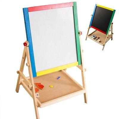 彩色实木双面磁性儿童画板画架写字板小黑板支架式宝宝画画板