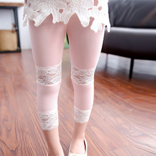 2016 summer children's leggings wholesale double-section lace stitching girls nine-point pants children's pants clearance sale children's clothing