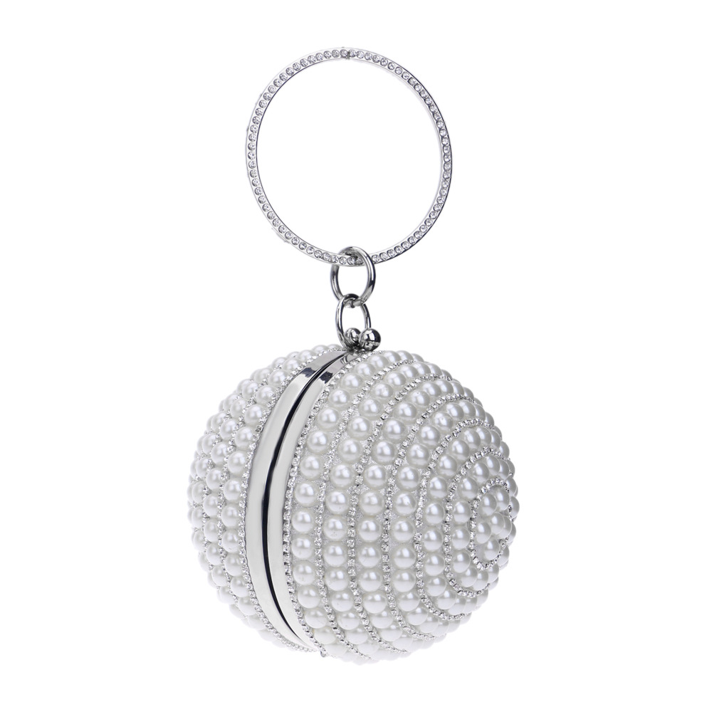 Hot pearl handbag lady fashion banquet bag spherical evening bag NHYM180870