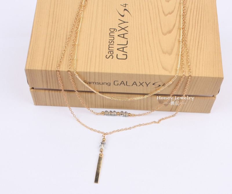 Simple Crystal CZNecklaceGeometric (Gold)NHCT0144-Gold