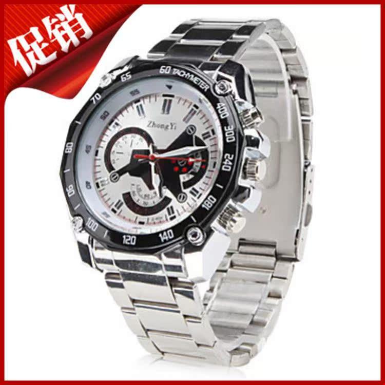 跨境爆款手表watch装饰三眼男士经典钢带手表时尚商务腕表