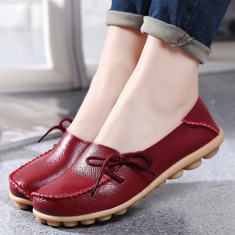 跨境春夏大碼女鞋真皮媽媽鞋護士系帶平底鞋休閑豆豆單鞋懶人鞋