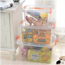 专业生产加厚食品级整理箱 透明收纳箱 有盖三件套手提储物箱