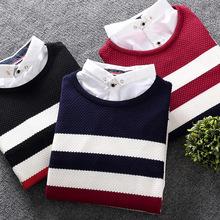 秋冬季男士假两件套圆领针织衫学生衬衫领毛衣青少年韩版假领衬衣
