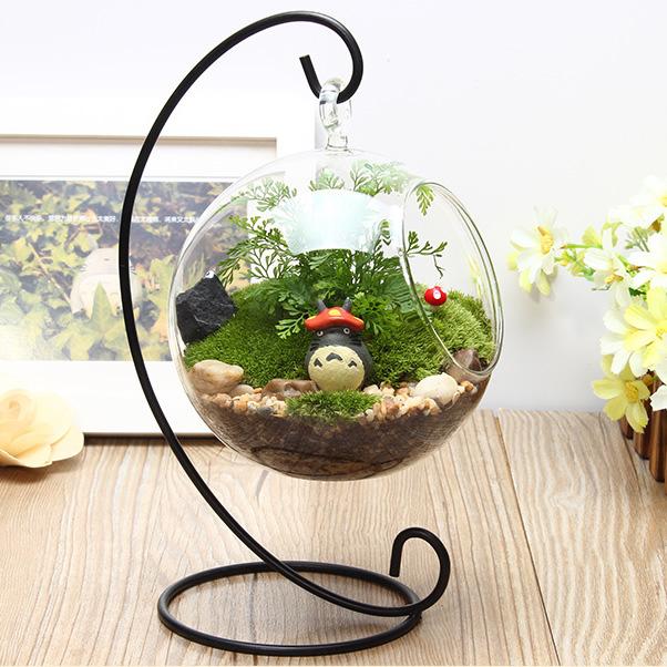 微景观铁架玻璃花瓶 透明悬挂圆瓶 苔藓DIY花瓶 创意家居工艺品