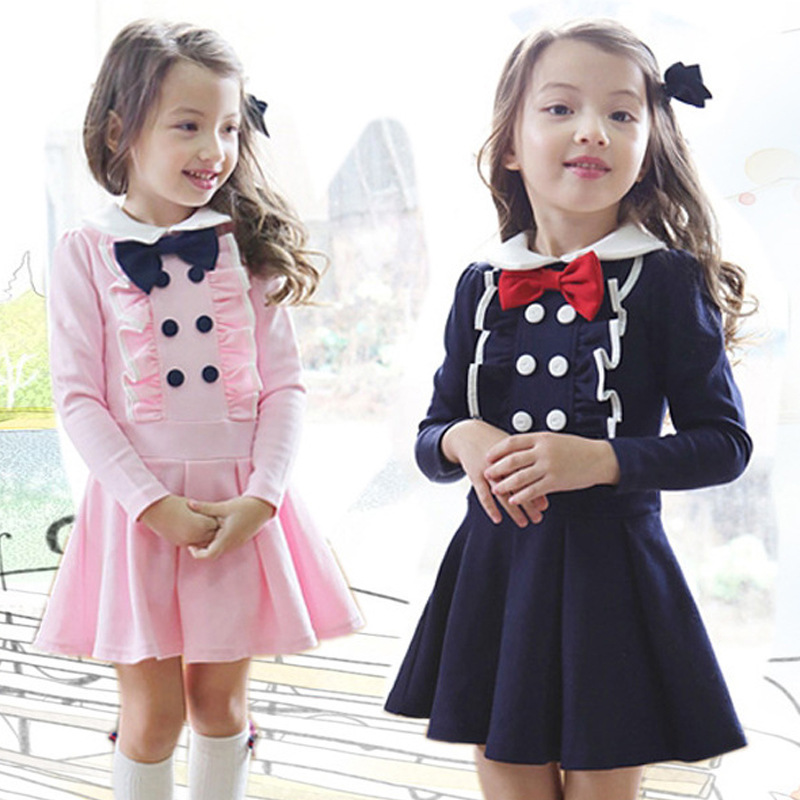 2020 Korean Baby Girls Preppy Style Double Breasted Bow ... Korean Toddler Clothes