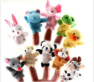 手指偶双层带脚动物手偶手指娃娃讲故事帮手毛绒玩具厂家现货批发