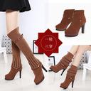 Boots cổ cao nữ mũi tròn, thiết kế cao gót cá tính, thời thượng