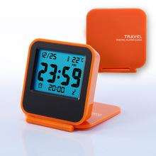 迷你翻盖旅行电子钟 温度计时钟折叠静音时尚便携 夜灯LCD闹钟