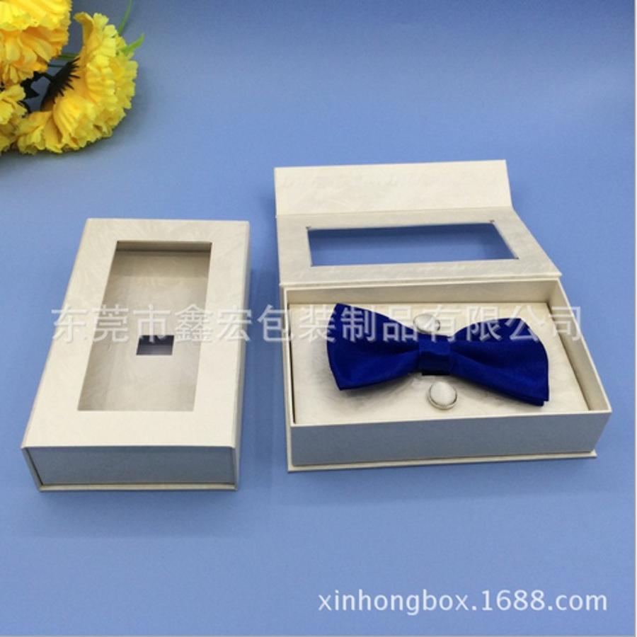 厂家专业定做精美环保开窗领结盒  纸质领结专用收纳盒