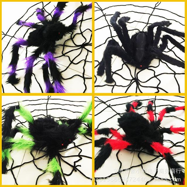 万圣节装饰用品搞怪恶搞整蛊整人玩具黑色花色静态毛绒蜘蛛道具