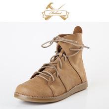 冬款7016森女靴手工牛皮文艺复古平底女皮靴OEM小批量厂家特价