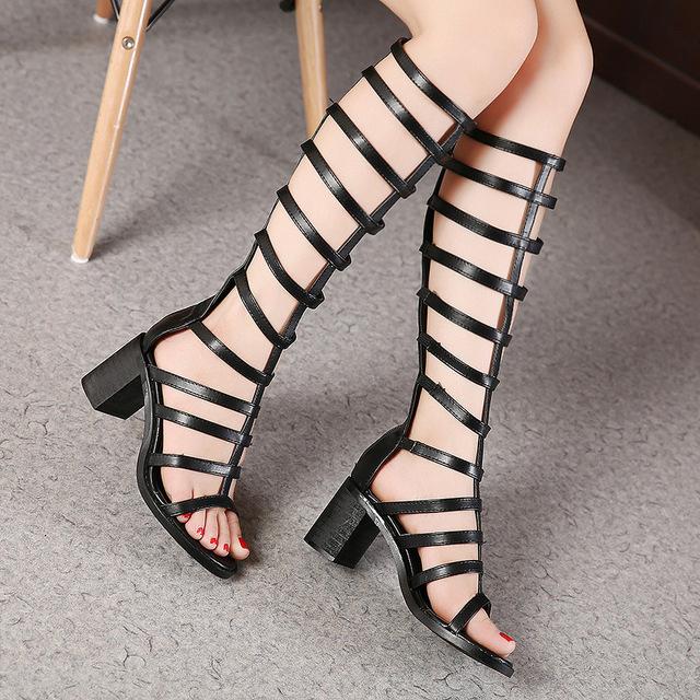 批发外贸2017夏季新款欧美时尚长筒粗跟凉鞋高跟镂空罗马鞋女鞋
