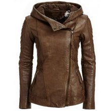 Europe and the United States new fashion hooded long-sleeved solid color women's leather jacket retro women's jacket