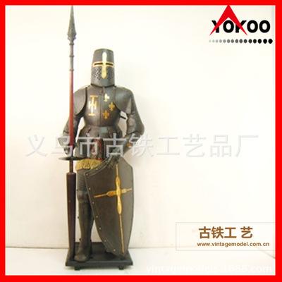 仿古中世纪骑士盔甲模型,纯手工打造黑色欧洲武士盔甲,酒店装饰