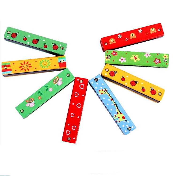 厂家直销 儿童口琴卡通木制口琴 婴幼儿早教音乐玩具 双排16孔