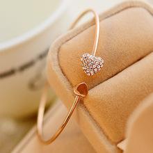 韩版饰品批发 满钻心形爱心手链 开口手镯 欧美外贸双桃心手环