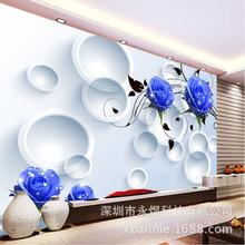 3D立体紫色玫瑰圈圈大型无缝背景墙壁画《个性品牌壁纸壁画定制》