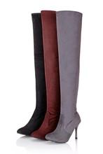 厂家春秋新款特价女靴正品瘦腿弹力过膝靴高跟高筒长靴子大码女鞋