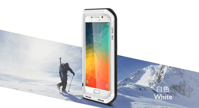 LOVE MEI Powerful Water Resistant Shockproof Dust/Dirt/Snow Proof Aluminum Metal Outdoor Heavy Duty Case Cover for Samsung Galaxy S6 Edge Plus