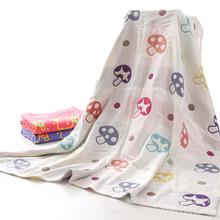 纯棉三层纱布童被批发定制110*110蘑菇卡通儿童童被抱被沙滩巾